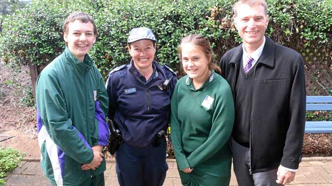 TOP COP: Lockyer District High School students Haidyn Thode and Kaitlyn Friend with Senior Constable Carlene Groube and principal Darren Cook.