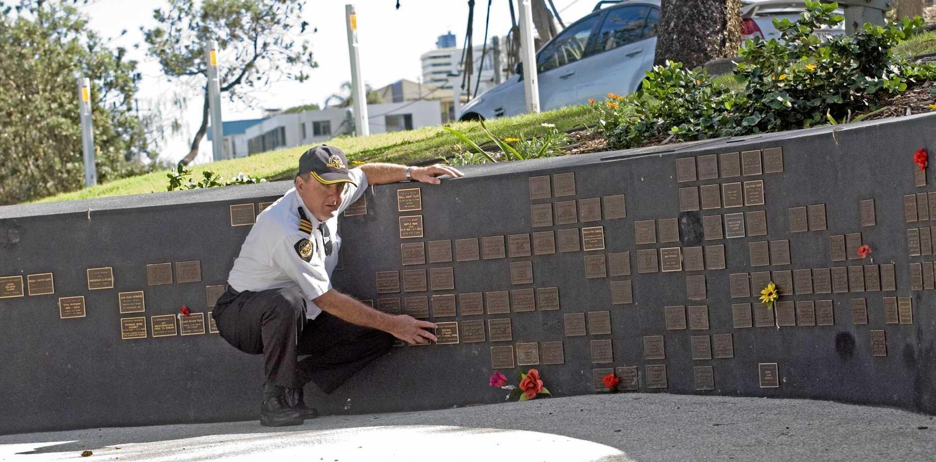 Commander Tony Barker of Caloundra Coast Guard flotilla at Memorial Wall