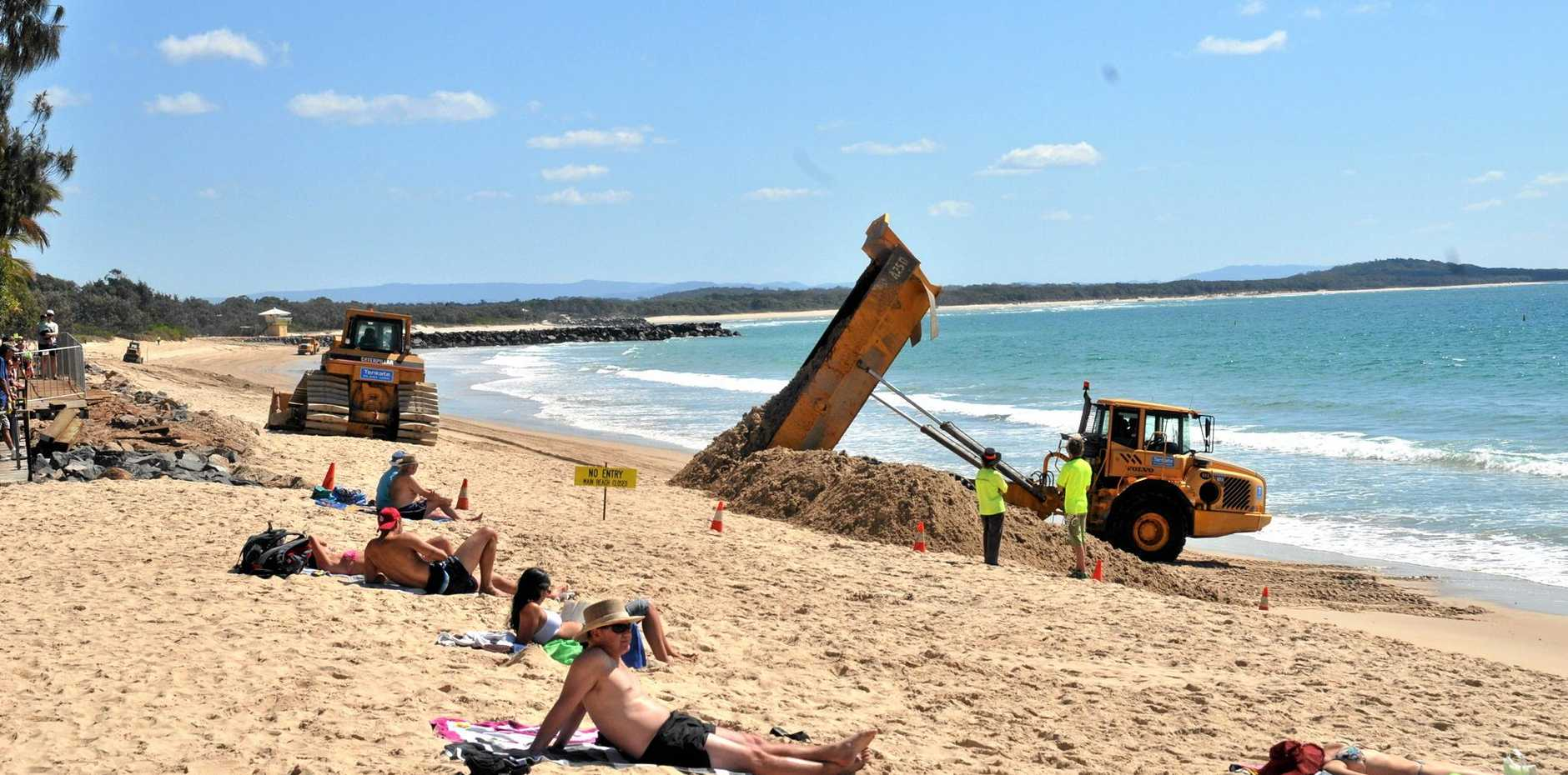 A Noosa News file shot from some years back of Noosa Man Beach sand grooming.
