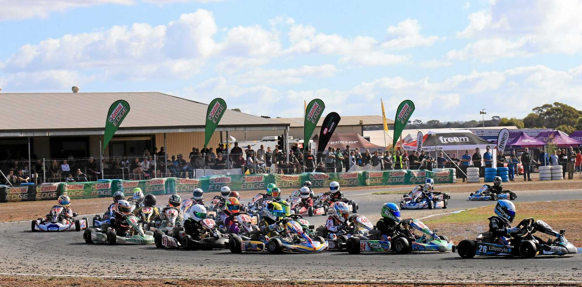 The start of a previous round of the Australian Kart Championship.