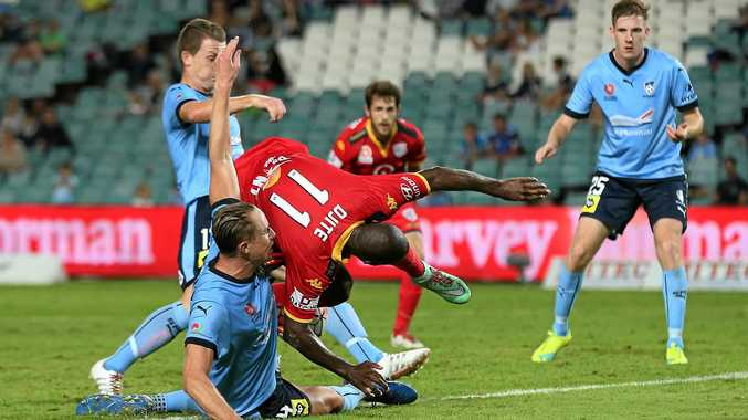 TOUGH: Sunshine Coast's Zac Anderson, playing for Sydney FC, tangles with Adelaide United's Bruce Djite.