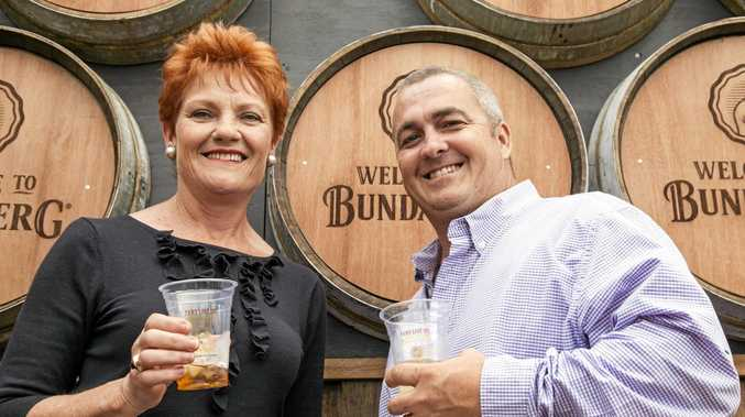 One Nation's leader Pauline Hanson and Hinkler candidate Damian Huxham.