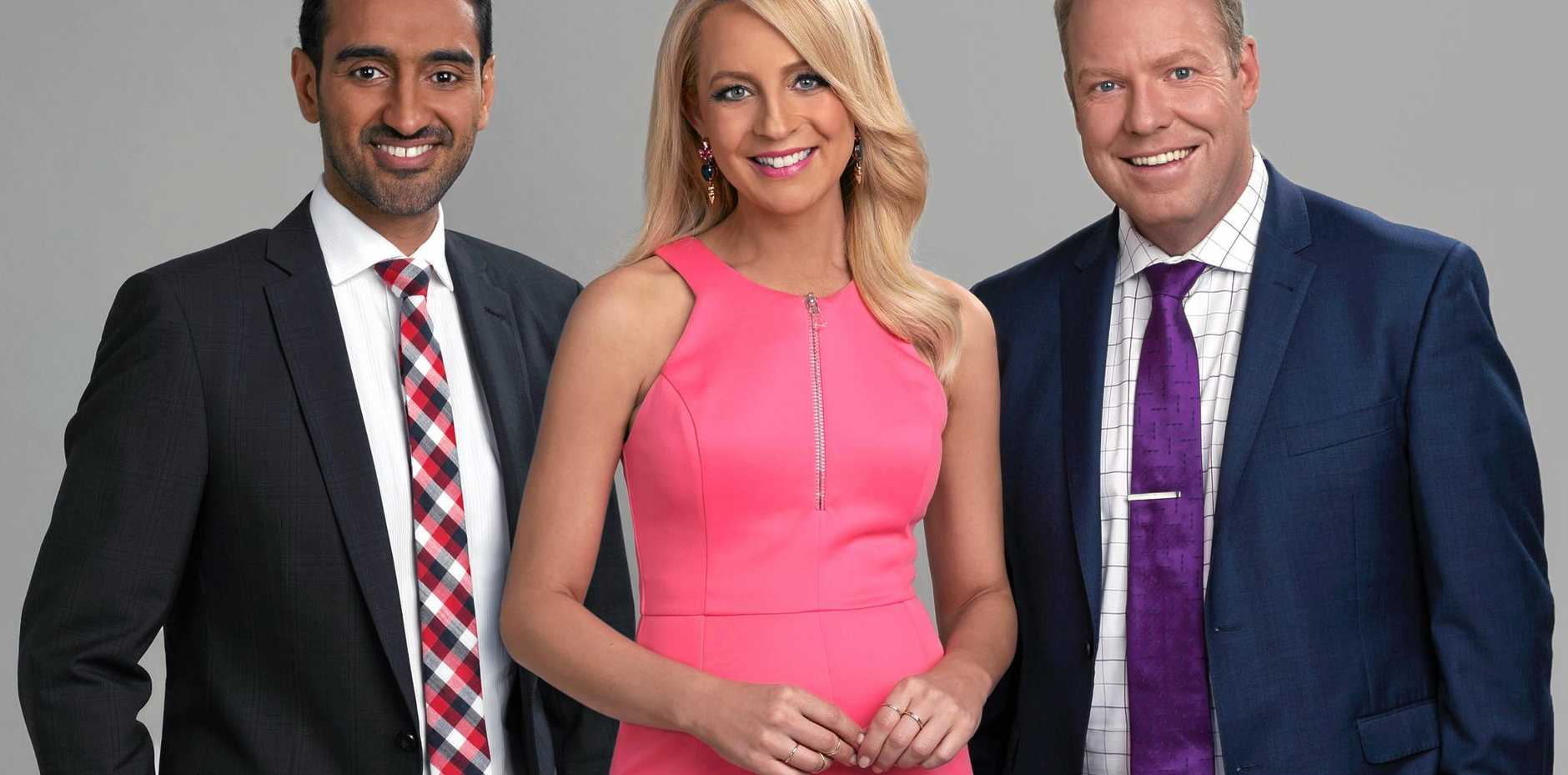 Waleed Aly, left, joins The Project full time in 2015. Pictured with Carrie Bickmore and Peter Helliar. Supplied by Network Ten.