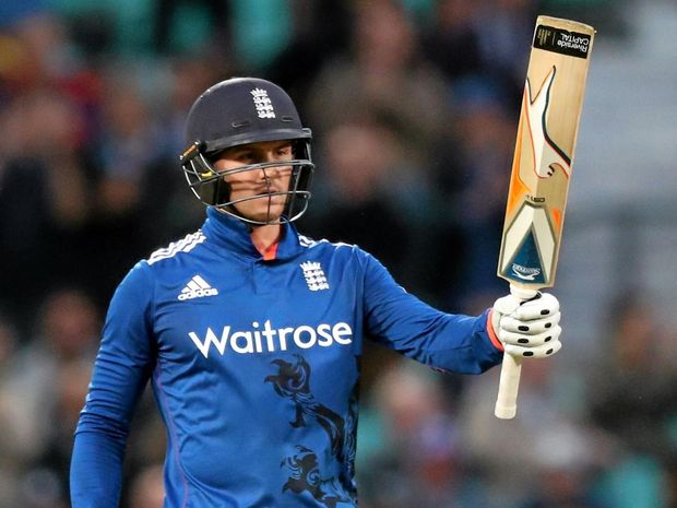 TOP KNOCK: England's Jason Roy celebrates reaching 150 runs during the ODI against Sri Lanka at the Oval in London.
