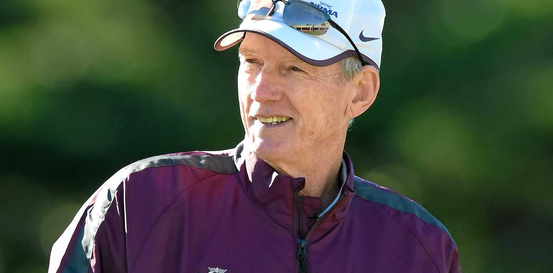 MASTER COACH: Wayne Bennett looks on during a Brisbane Broncos training session at Red Hill.