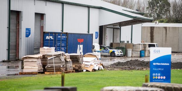 Police were at Oji Fibre Solutions, Hamilton, after body parts were found.