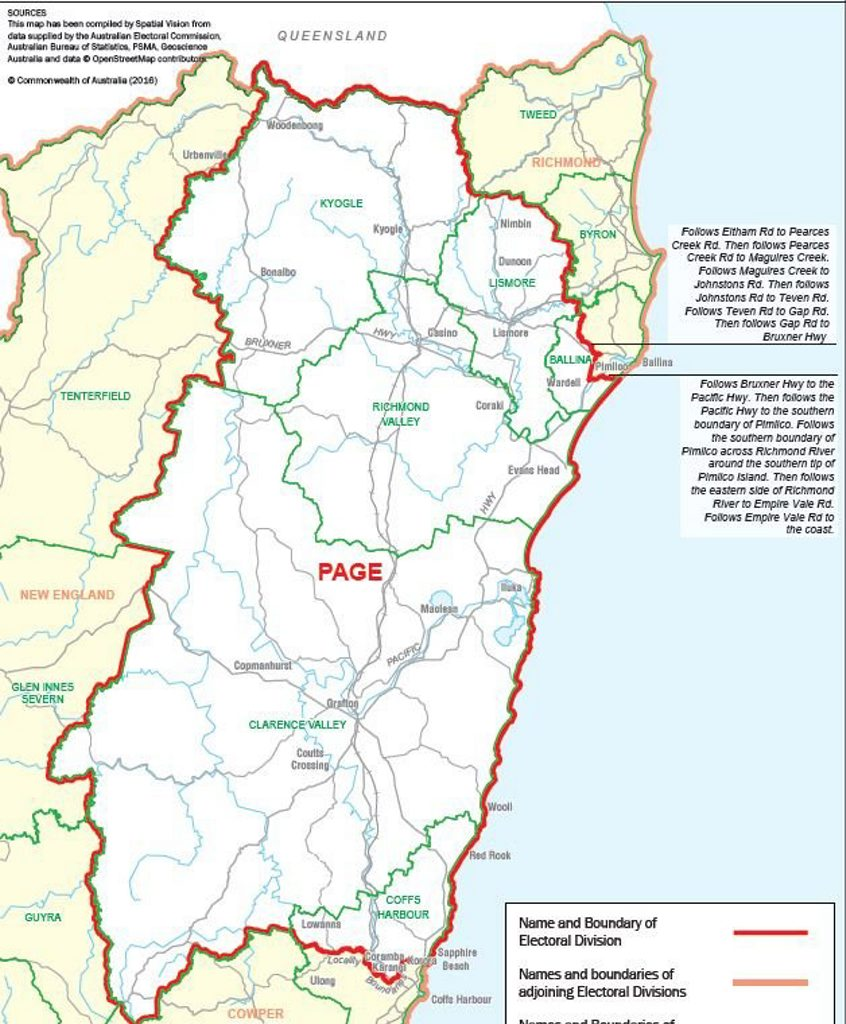Electoral boundaries for Page and Richmond.