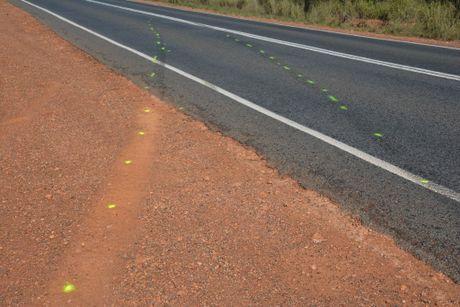 FATAL CRASH: Markings by the forensic crash unit to establish exact behaviour prior to the crash on July 1.