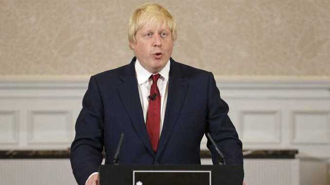 Former London mayor Boris Johnson announces that he will not run for leadership of Britain's ruling Conservative Party in London, Thursday, June 30, 2016.