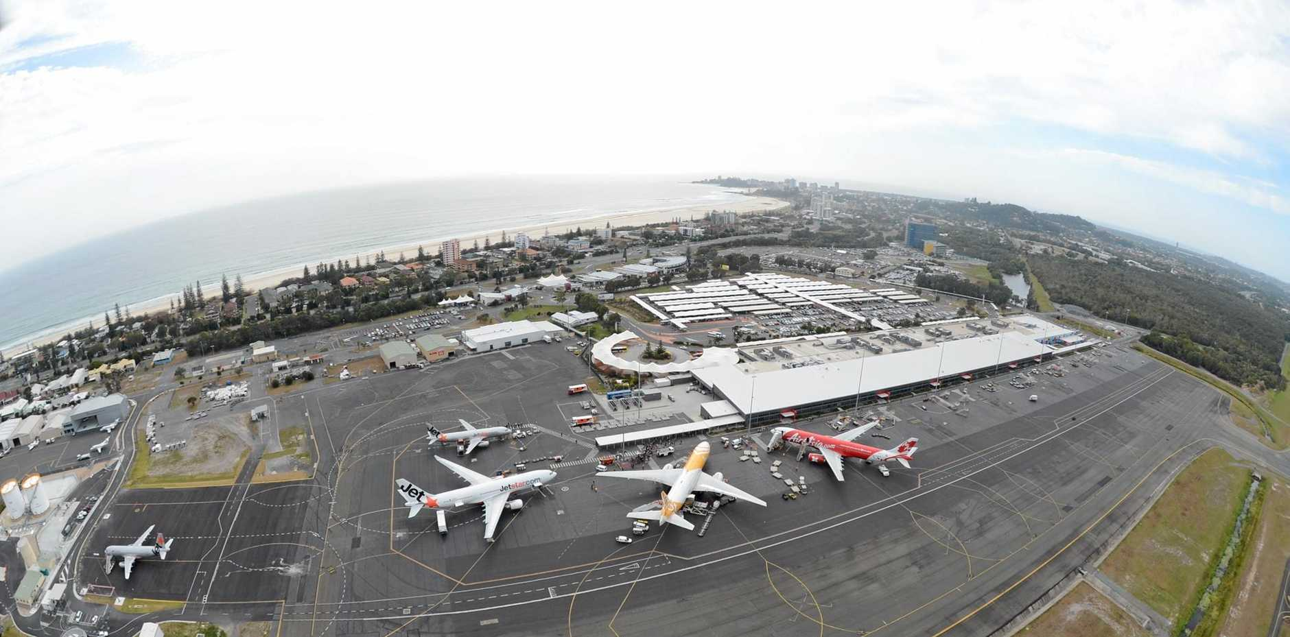 An aerial shot of Gold Coast Airport. Photo supplied by airport for repeated editorial use.