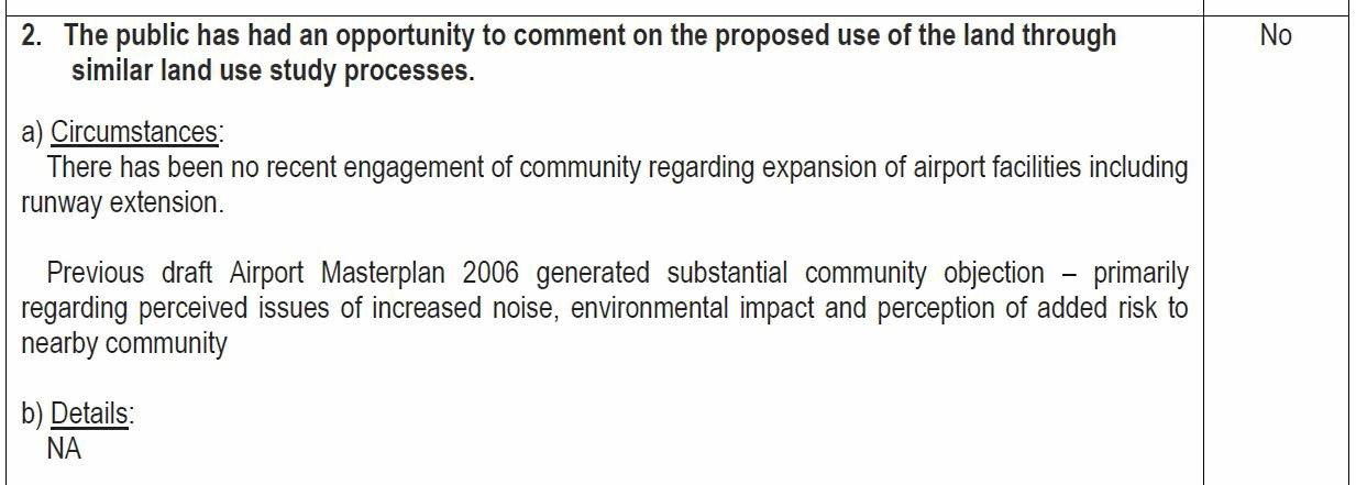 Excerpt for a waiver for the need for a Land Assessment.