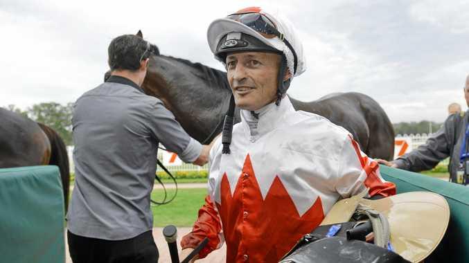 BIG CHANCE: Local jockey Damian Browne and Maurus.