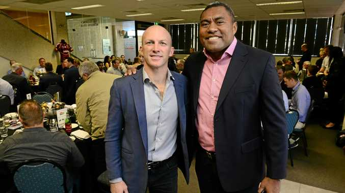 MEN'S HEALTH: Rugby league greats Darren Lockyer and Petero Civoniceva were some of the Queensland legends to attend the annual Swich On fundraiser at the Ipswich Turf Club.