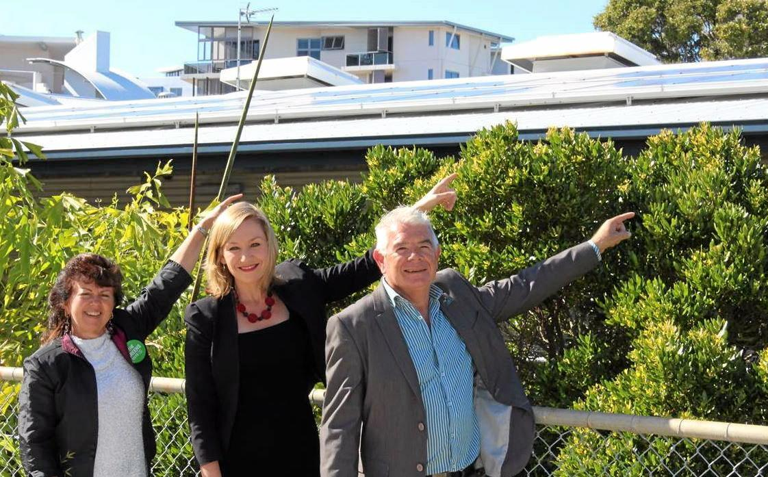 SOLAR POWER: (L-R) Greens candidate for Fairfax Susan Etheridge, Queensland Senator Larissa Waters and Greens candidate for Fisher Tony Gibson.