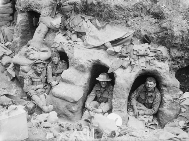 Border Regiment men in dugouts at the Battle of the Somme in August 1916