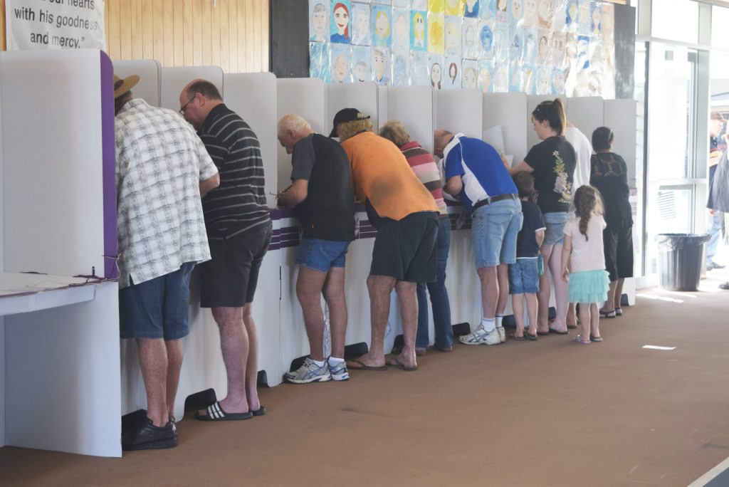 ELECTION: Voters at polling booths at St Catherine's Catholic College this morning. Photo Inge Hansen / Whitsunday Times.