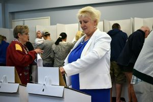 Sitting Capricornia MP Michelle Landry casts her vote this morning at the Rockhampton Baptist Church polling booth.Photo Amber Hooker / The Morning Bulletin