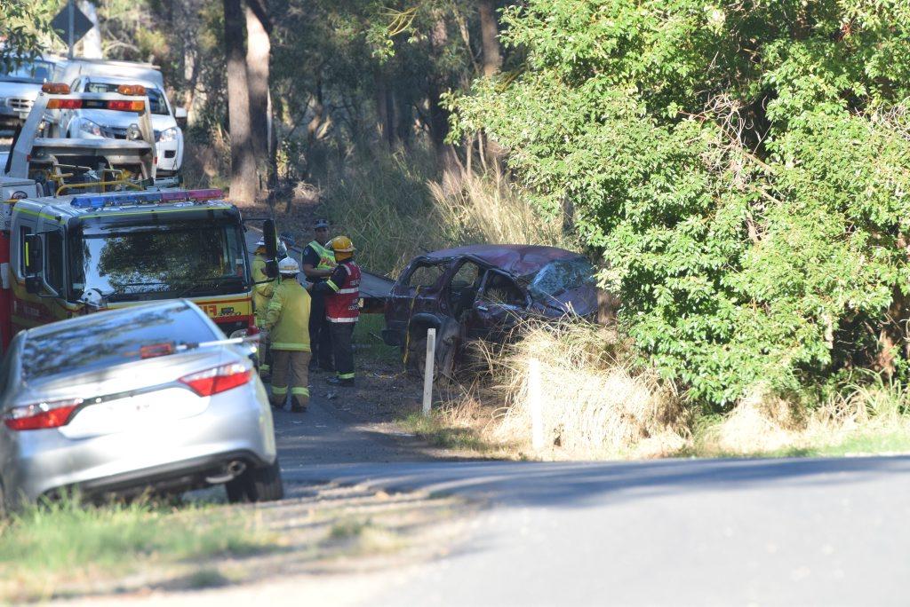 Fatal crash on Gooburrrum Rd 2016 Bundaberg. Photo: Craig Warhurst/News mail