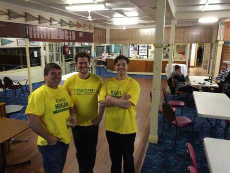 Kevin Hogan supporters Darren Barnsley, Gordon Hawkins and Joshua Dardengo at the Lismore City Bowling Club.