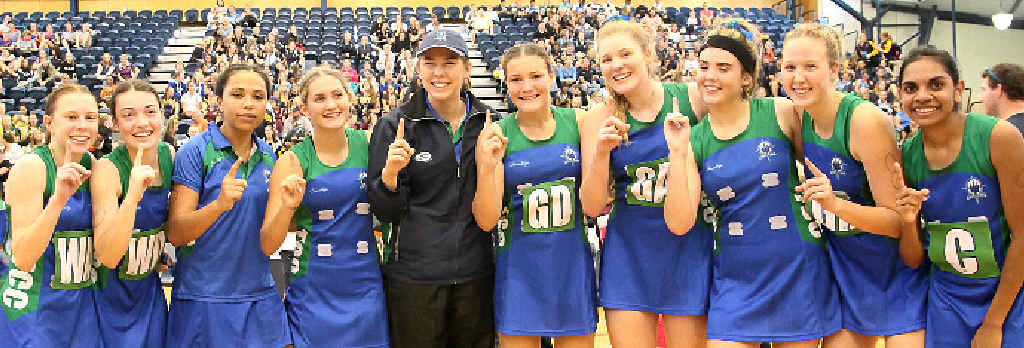NUMBER ONE: The Cathedral College team celebrates after claiming its first QISSN title with a convincing grand final victory over Matthew Flinders Anglican College.