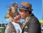 GLAMOUR COUPLE: Gold Coast husband and wife Alla and Steven Dimech, from Broadbeach, steal the show winning best dressed in Fashions on the Field.