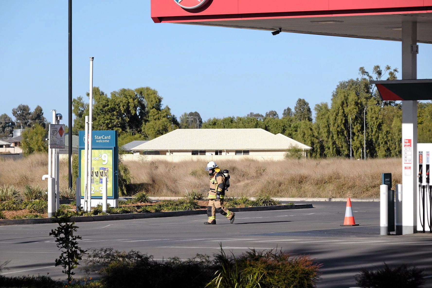 Queensland Fire and Emergency Services attend to a suspected gas leak at Chinchilla Caltex on Saturday morning.
