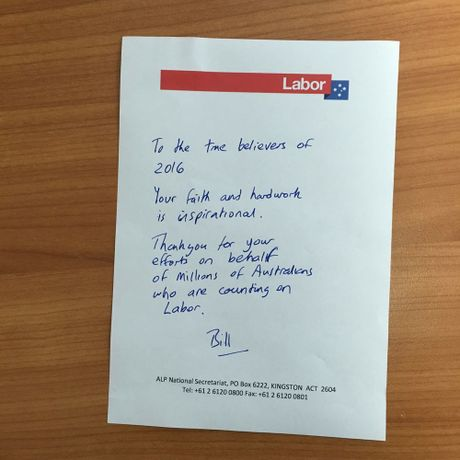 How Opposition Leader Bill Shorten thanked his volunteers today
