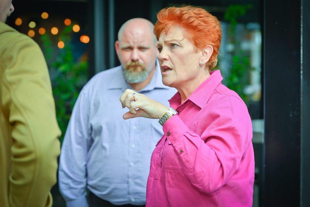 Pauline Hansen in Gladstone June 24, 2016.Lower house candidate for Flynn, Phill Baker and Pauline Hansen.Photo Mike Richards / The Observer