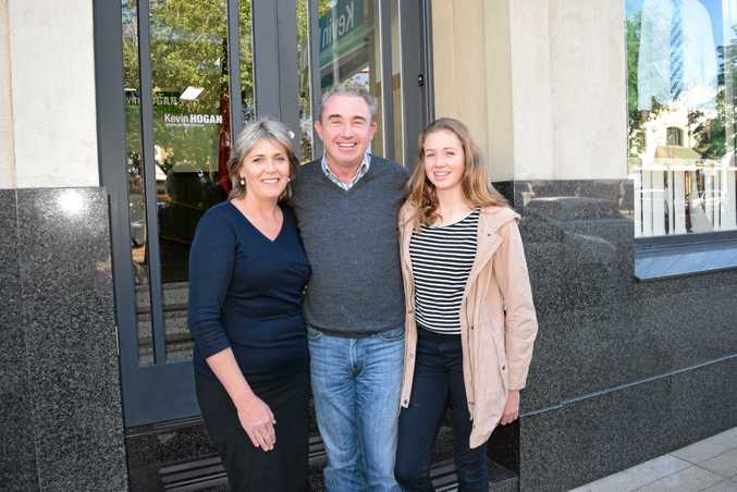 WINNING WAYS: Kevin Hogan, wife Karen and daughter Rosie after declaring victory on Sunday.