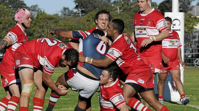 The goal line defence of the Rebels was unbreakable in the first half in the South Grafton Rebels defeat of the Nambucca Heads Roosters at McKittrick Park.