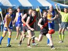 CLEAR KICK: Jonty Crowe clears the ball for Hervey Bay Bombers during their AFL Wide Bay win over Across The Waves at Bundaberg's Frank Coulthard Oval on Saturday.
