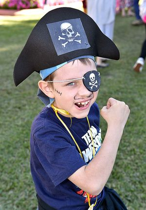 James Wait from Maryborough gives his best pirate pose for the camera.