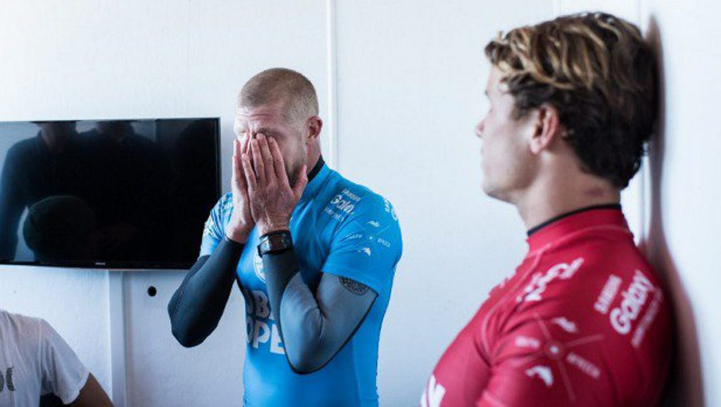 Emotions spill over as Mick Fanning (left) and Julian Wilson are interviewed. Photo: Sreengrab WSL