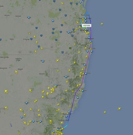 DIVERTED: A Virgin flight from Sydney to Hervey Bay has made an emergency landing in Brisbane.