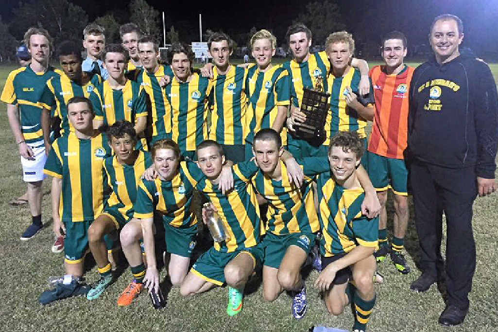 SCORING GOALS: The St Brendan's College team which won the Rockhampton and district inter-school open football competition.