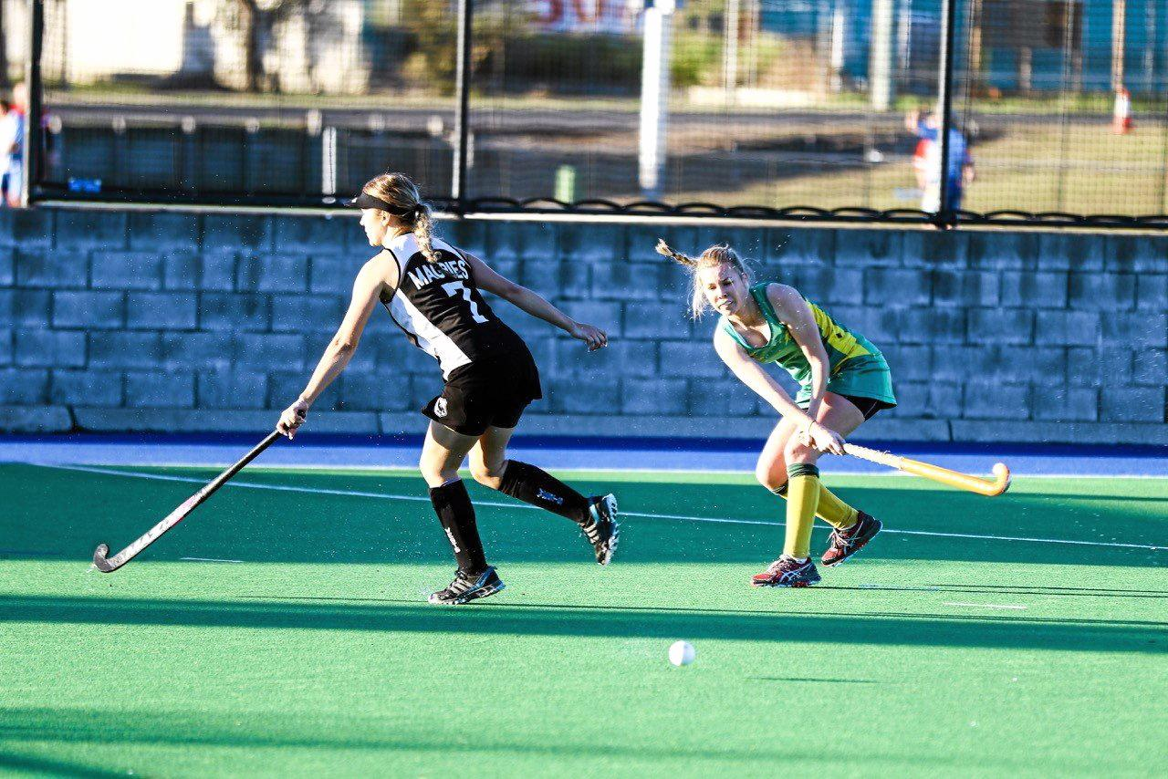 Bellbowrie captain Kiah Ahern (right) in action against Wests before she went off hurt.