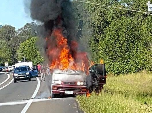 A lady was lucky to escape after her car burst into flames on the Bruce Hwy on Saturday.