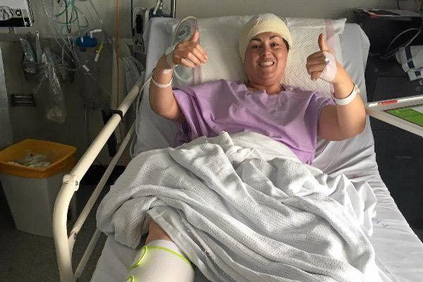 Ash Stuart after surgery in Brisbane.