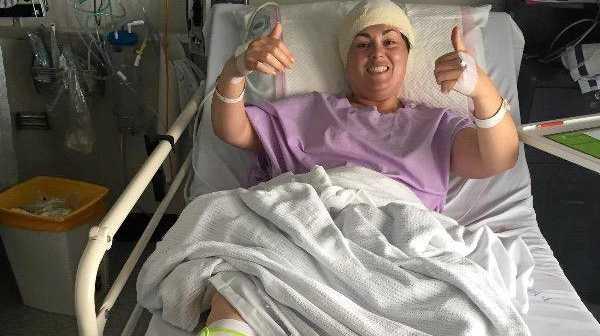 Ash Stuart after surgery in Brisbane.