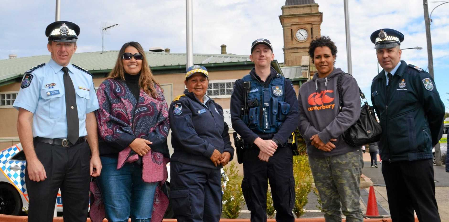 Warwick Police Sergeant Jamie Deacon, Melissa Chalmers, Community Liaison Officer Mandy Bahr, Constable Brad Bennett, Lithia Kusu and Acting Senior Sergeant Shane Reid at the flag raising ceremony to mark the start of NAIDOC week in Warwick.