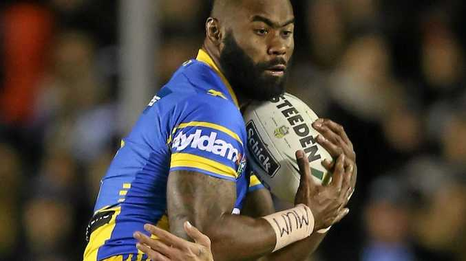 OFF-FIELD DRAMA: Semi Radradra of the Eels takes a bomb during the Round 17 NRL match against the Sharks at Southern Cross Group Stadium.