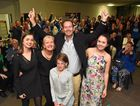SUCCESS: Andrew Wallace wins the seat of Fisher. From left is his daughter Rebecca 19, wife Leonie, daughters Sarah 13 and Caroline 21.