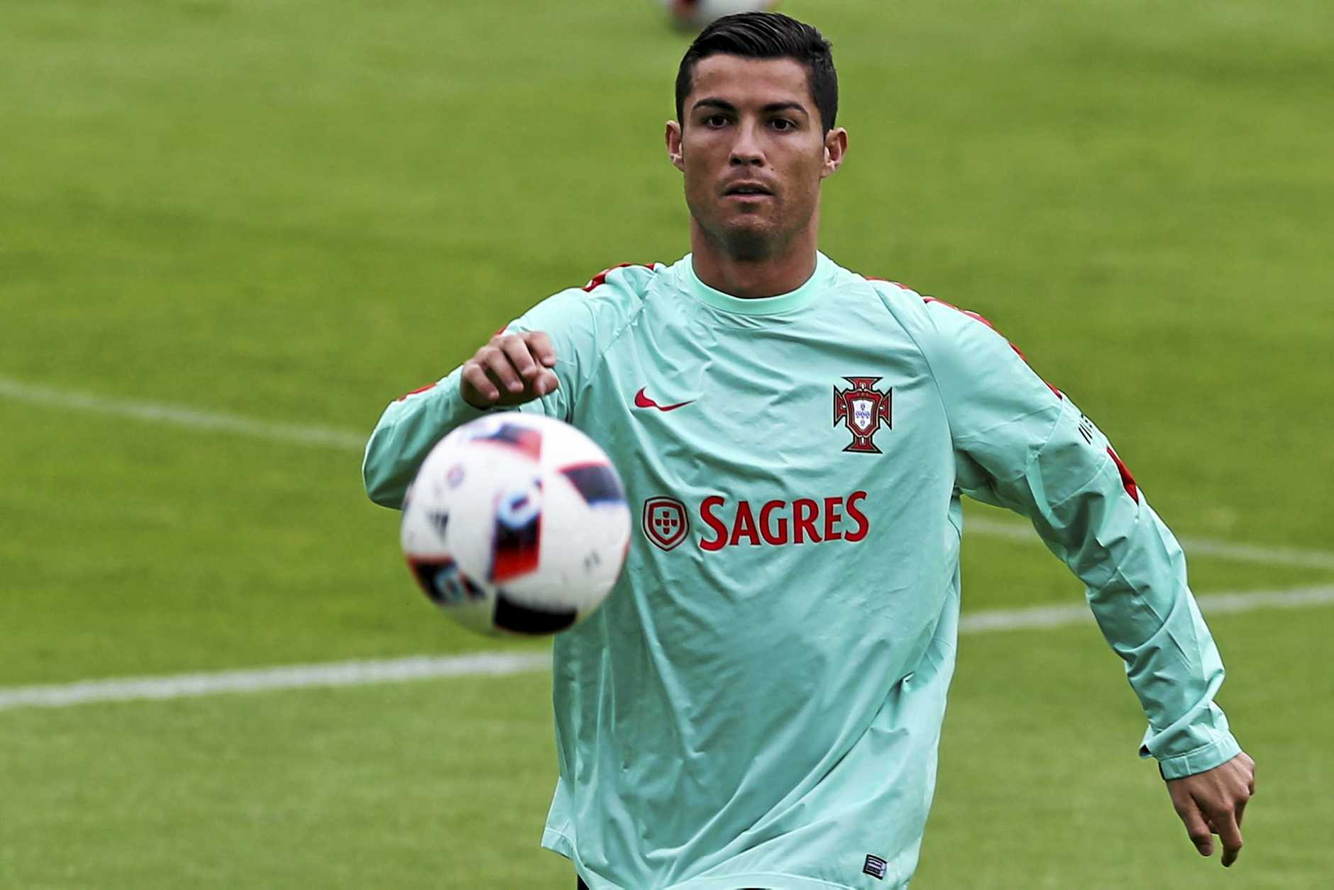 TIME TO SHINE: Portugal's Cristiano Ronaldo during a training session ahead of the Euro 2016 semi-final against Wales.