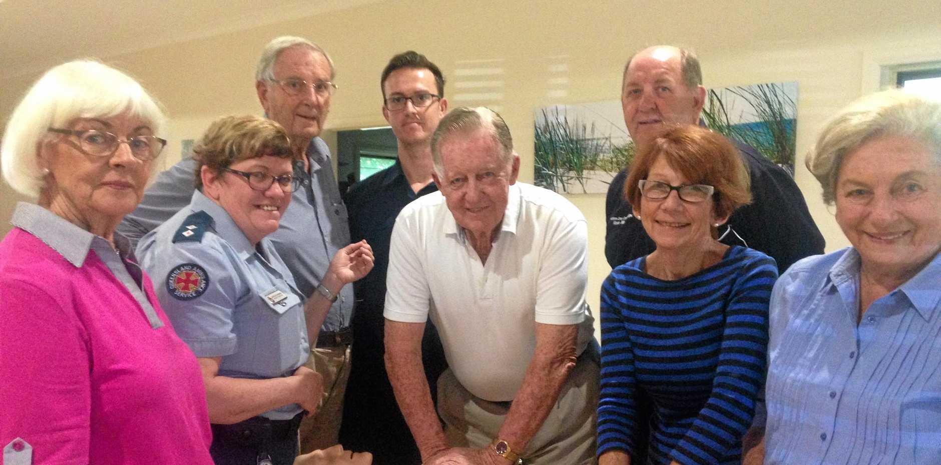 CPR AWARE: Polly Messner, Annette Morris (QAS), Peter Messner, Stephen Kelly (trainer), Ken Earner, Roy Crombie , Rosemary Dwyer and Carmel Earner at Noosa Waters Retirement Village.