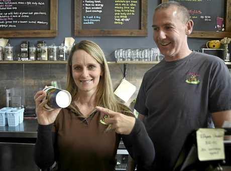 DRINK COFFEE AND WIN: Full of Life Organics owners Michelle and Jason Tong hope a Toowoomba resident will win the million.