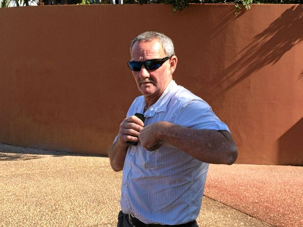 Gregory Muston leaves Gladstone Courhouse after pleading guilty to drug offences. Police also seized $17,000 cash.