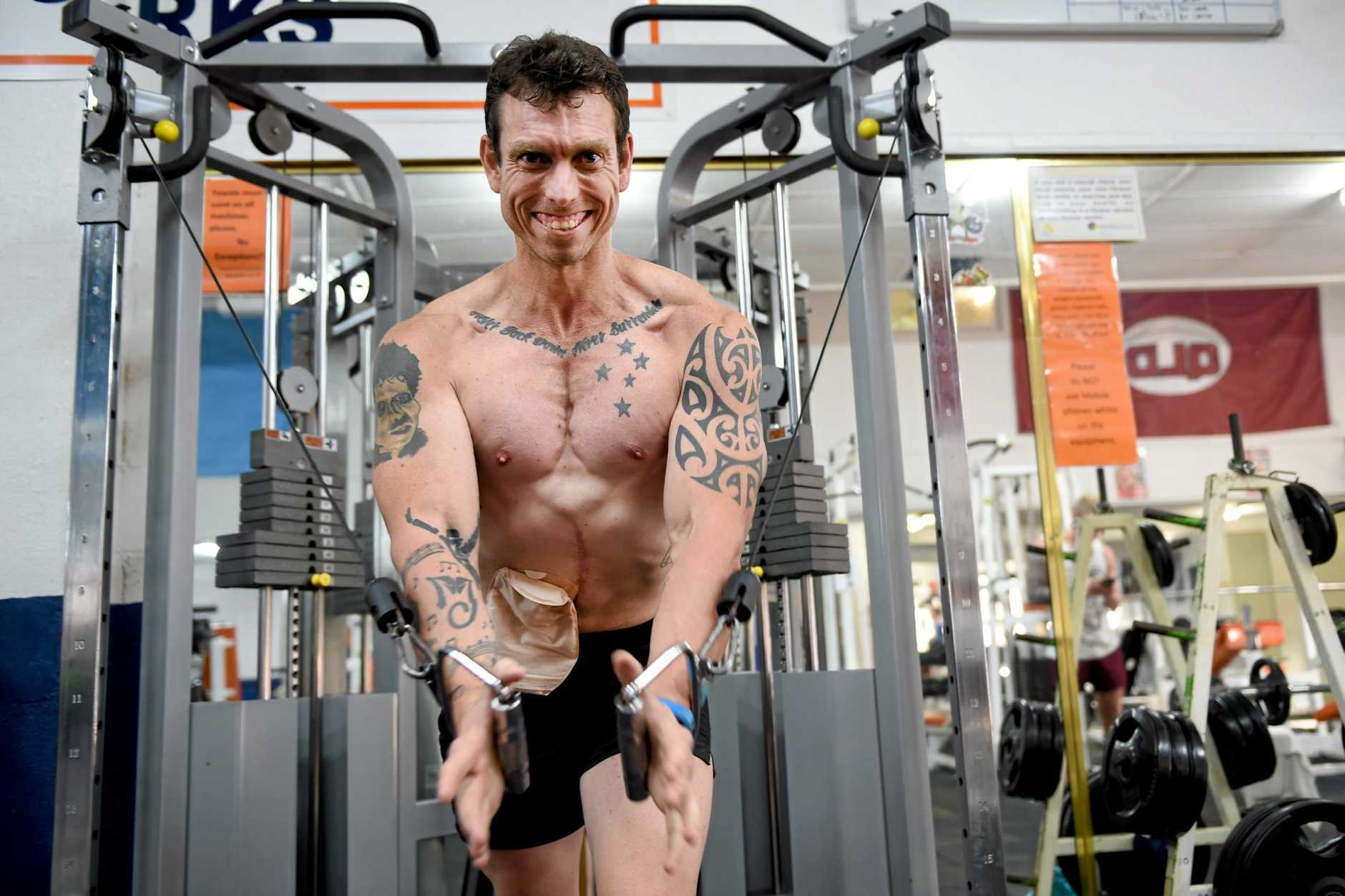 Beating the odds with a point to prove - Maryborough Fitness Health and Bodyworks' Joel Seeney picked up a second place at the national Max muscle up challenge - Seeney has become his own warrior, to battle stage three bowel cancer. Photo: Valerie Horton / Fraser Coast Chronicle