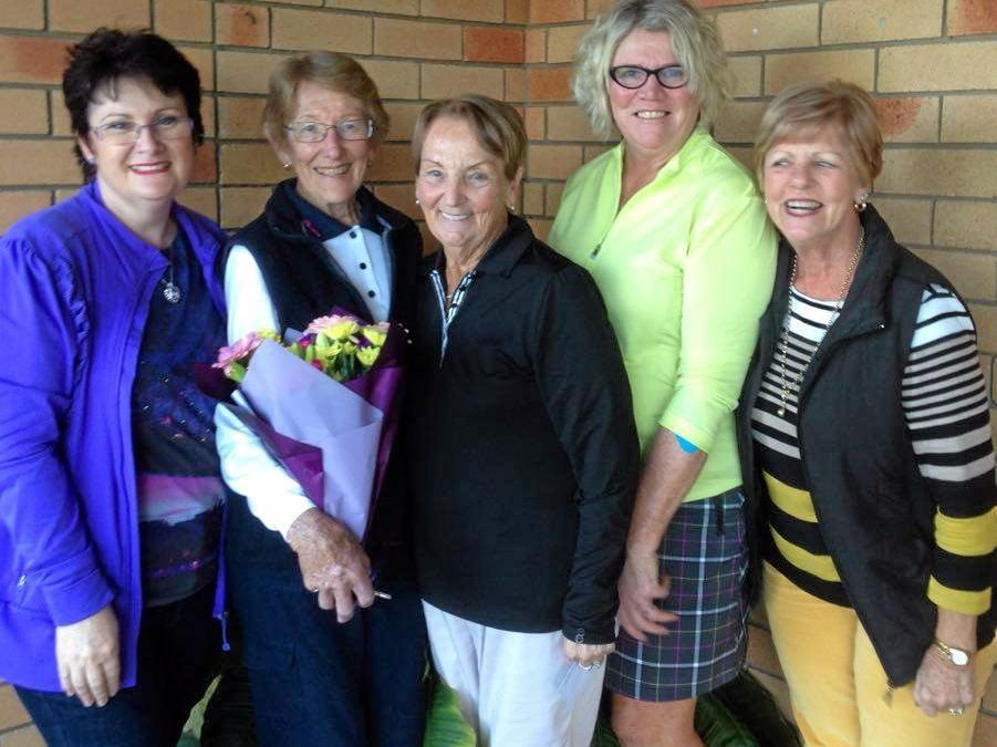 Nutrimetics sponsor rep Debbie Bowling, O.B.E. birthday girl Kay Peoples, winner Noeline Smith, vice-president Julie White and Veterans' delegate Trish Clarke at Grafton Golf Club.