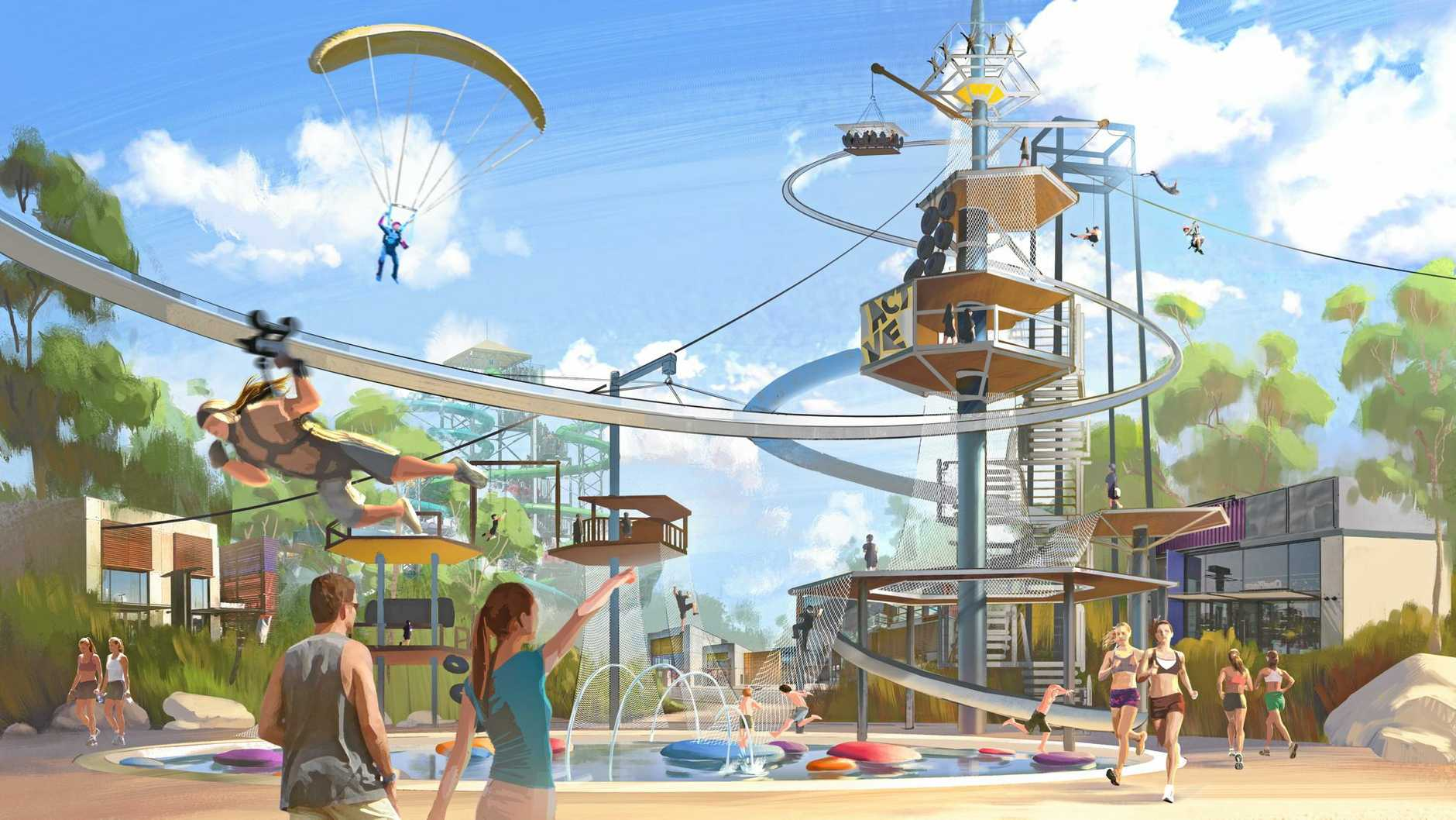 An artist's impression of the proposed new water park at Steve Irwin Way. June 2016.
