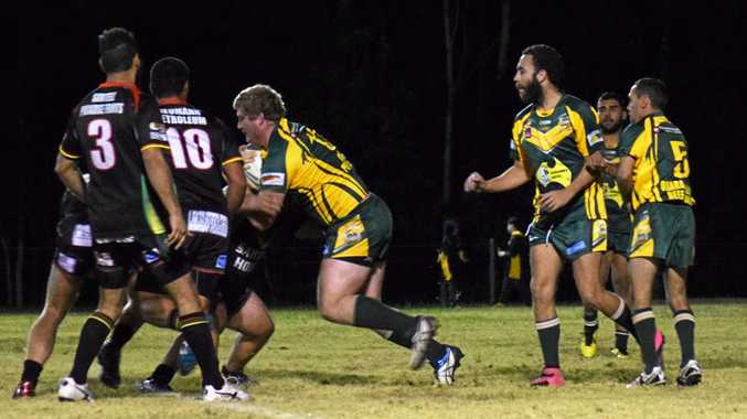 Orara Valley back rower Jarod Roberts makes some hard yards up the middle for the Axemen against Sawtell Panthers in the Group 2 catch-up game played at Coramba Sportsground. 6 July 2016 Photo: Brad Greenshields/Coffs Coast Advocate